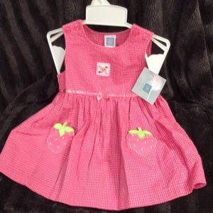 Little me 12 mo pink strawberry dress